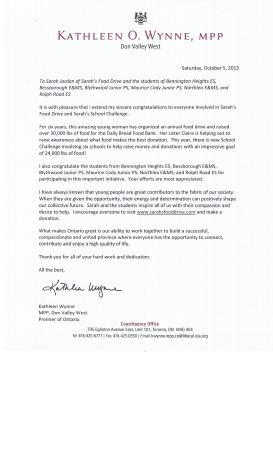 Premiers Letter re Sarahs Food Drive